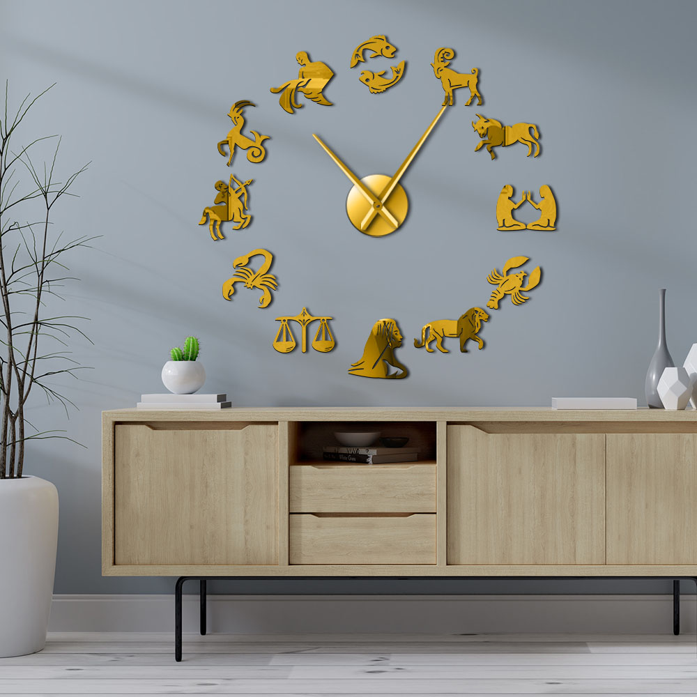 Zodiac Signs Wall Art Stickers Exclusive Wall Clock Constellation DIY Giant Wall Clock Astrology Hanging Clock Watch Home Decor