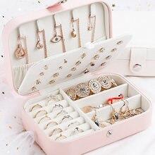 2020 organizador de jóias exibição de viagem portátil caixa de jóias caixas botão couro armazenamento zíper joyero 16*11.5*5cm