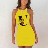 Sexy Nightwear Sleepwear Nightgown Night Shirts Summer Women 26 English Alphabet Print Pack Hip Nightie Yellow Night Dress 6