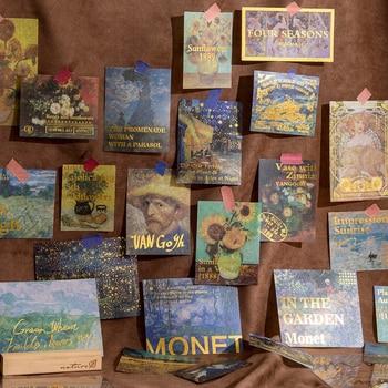 60 pcs/lot Van Gogh Bronzing Stickers Set Impression Gallery Series Planner Sticker aestheti Scrapbooking Decorative Diary Album