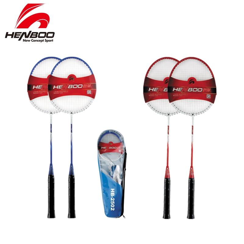 HENBOO Durable Badminton Racket Set Family Double Professional Badminton Racket Lightest Standard Use Iron Alloy  Badminton 2502