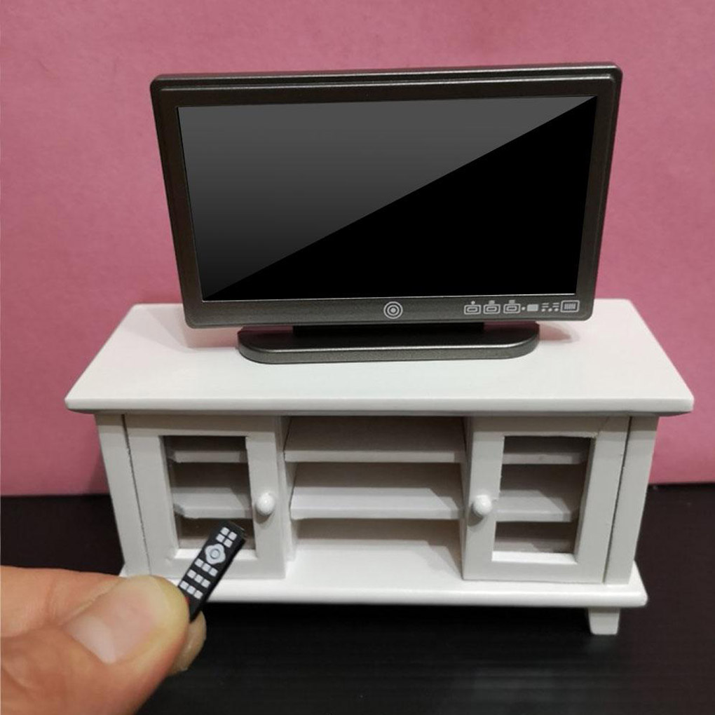 1:12 Doll House TV Remote Control Simulation Miniature Furniture Dollhouse Living Room Decoration Television