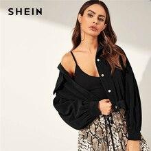 SHEIN Solid Drop Shoulder Single Breasted Corduroy Jacket Coat Women 2019 Autumn Streetwear Bishop Sleeve Ladies Casual Outwear