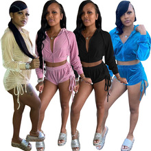 Outfits Tracksuit Matching-Set 2piece Hooded Pleated-Pants Long-Sleeve Casual Women Solid