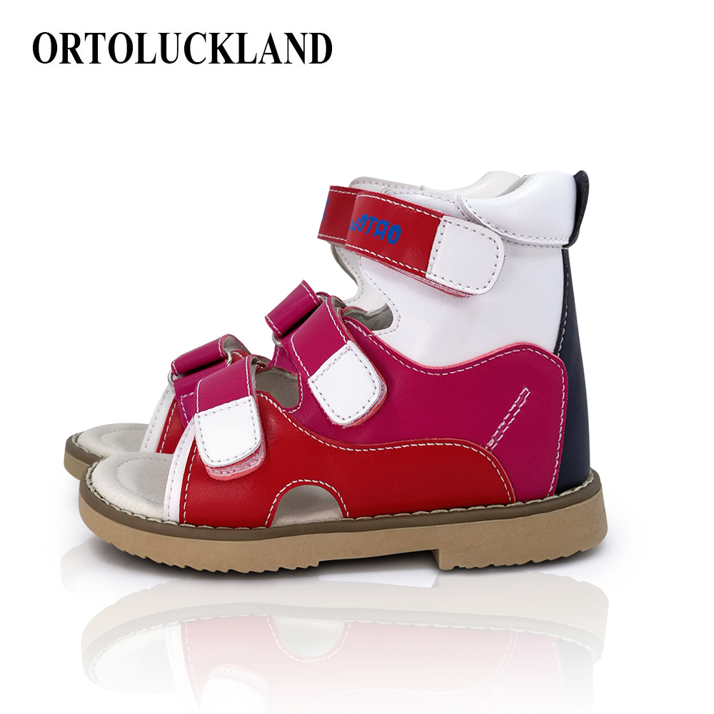 Ortoluckland Melissa Shoes For Girls Kids Ankle Sandal Orthopedic Shoes For Children High Tough Back Heel Leather Outdoor Sandal