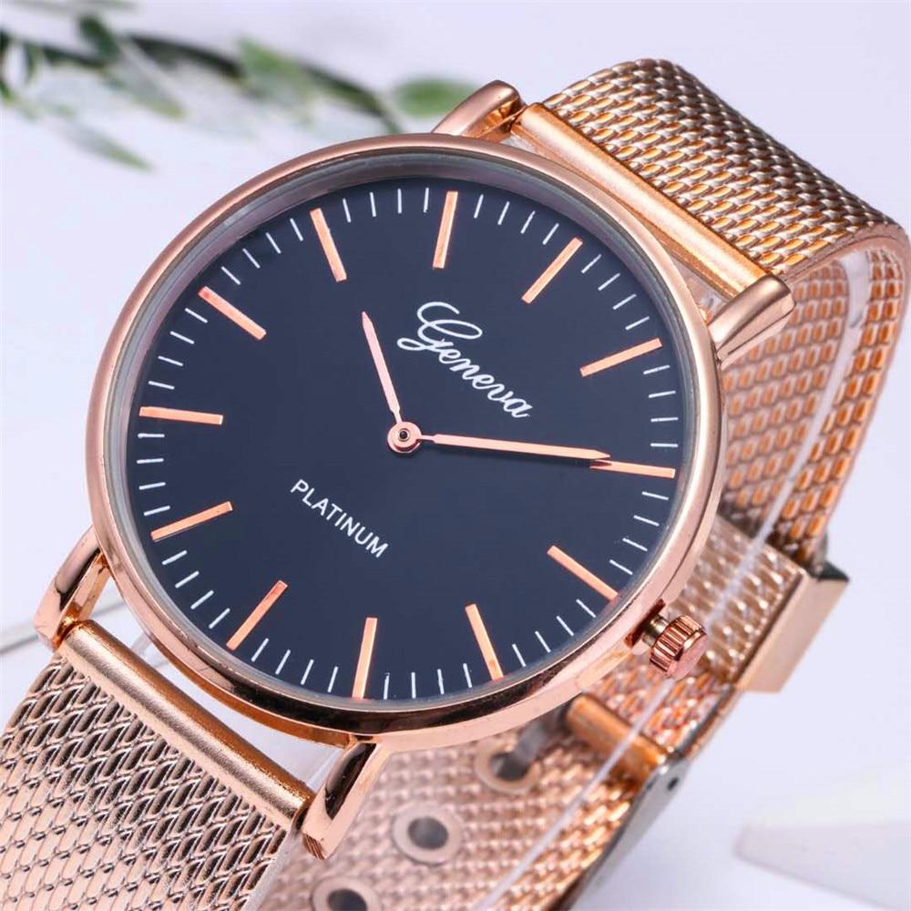 New Women Watch GENEVA Ladies Watches Quartz Relogio Feminino Stainless Steel Mesh Band Wristwatch Bracelet Clock Relojes Saati