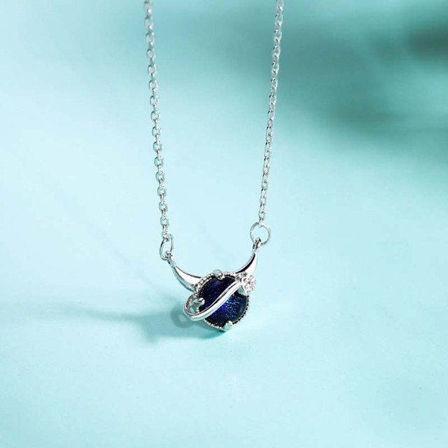 Genuine Real Pure Solid 925 Sterling Silver Pendant Necklaces Women Jewelry Blue Crystal Female Chain Necklace Choker 3