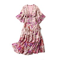 Newest Fashion Spring Autumn Women Dress Beach Style Pink Floral Dress Flare Sleeve Design Outfit Party Long Dresses Wholesale