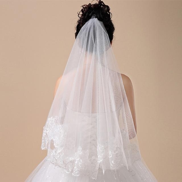 150cm Women Bridal Short Wedding Veil White One Layer Lace Flower Edge Appliques wedding accessories for women bride 5