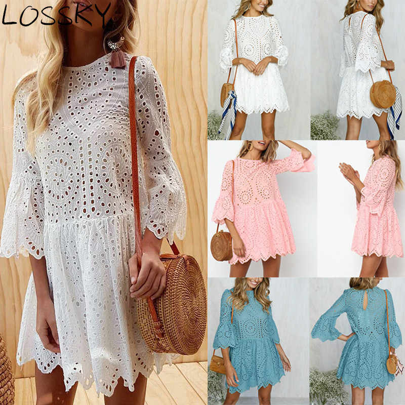 LOSSKY Women Lace Embroidery Sexy Dress Ruffle Sleeve Causal White Cotton Mini Dresses Hollow Out Short Dress Vestidos 2019 New