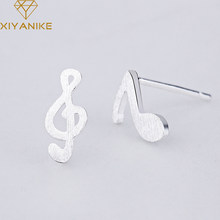 XIYANIKE 925 Sterling Silver 2019 Hot Sale Simple Note Stud Earring For Women Creative Small Ear Hoops Wedding Irregular Jewelry(China)