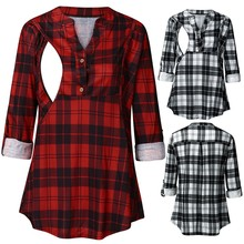 Vetement Femme 2019 Womens Clothing Maternity Clothes Long Sleeve Pregnancy Plaid Print Nursing Tops Blouse For Breastfeeding