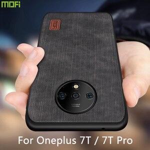 Funda Mofi para Oneplus 7T Pro, funda Oneplus 7T, carcasa de silicona a prueba de golpes, jeans, PU, cuero, TPU