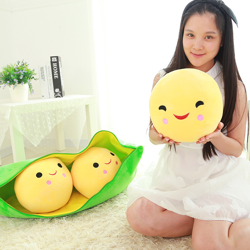 25cm Cartoon Cute Pea Doll Soft Plush Toy Pillow Cushion Doll Sleeping Toy Children's Toys Gift