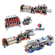 MOC High-tech 6 8 16 Cylinder Engine Unit V6 V8 V16 Engine 6 Speeds Gearbox Building Block Bricks Kits DIY Kids Toys MOC Cars