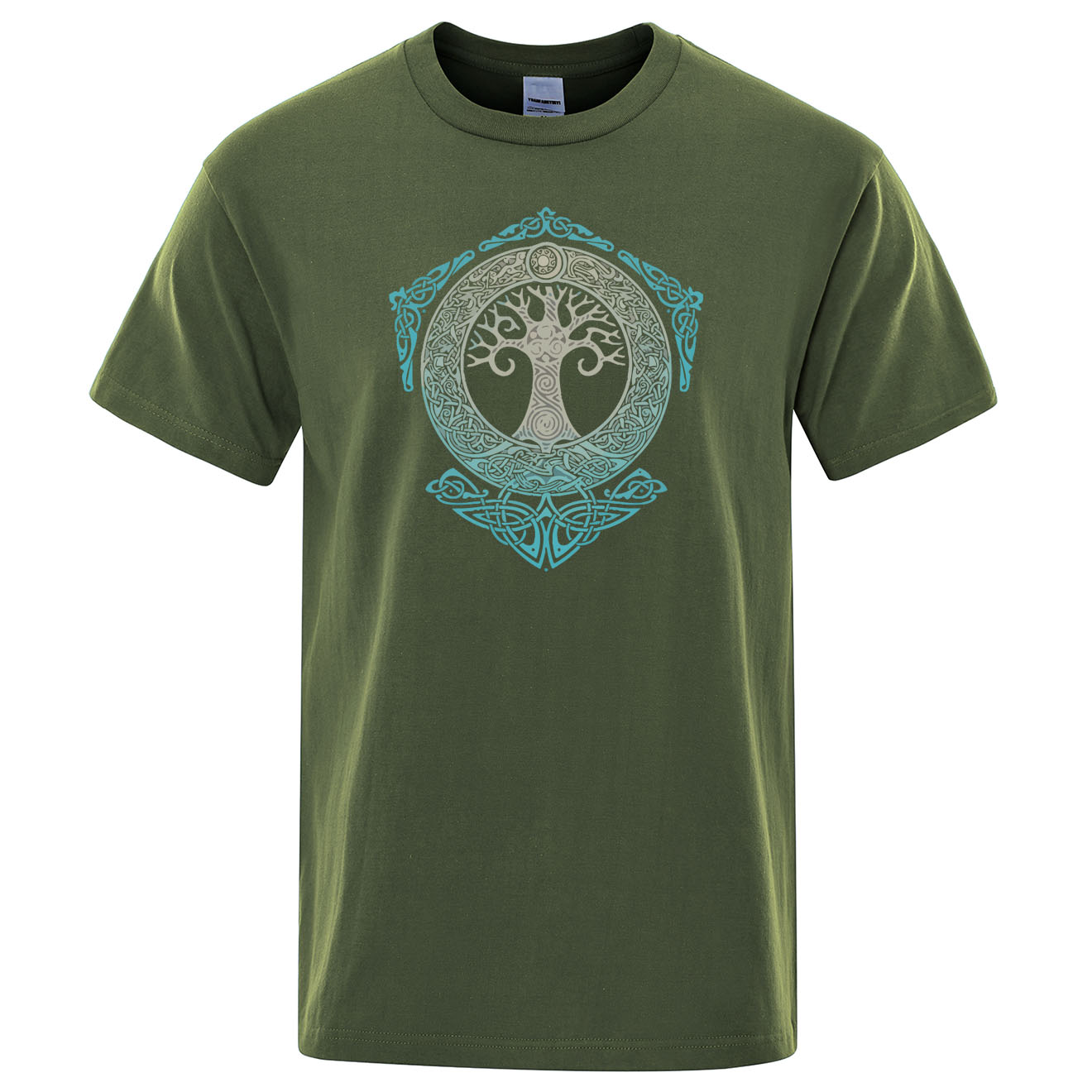 Yggdrasil T Shirt World Tree Men Tops Fashion Pattern Tee 2019 Summer Cotton T-Shirt Odin Aesir Nordic Mythology Men's Tshirt