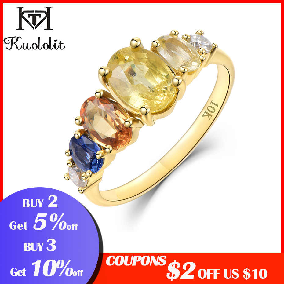 Kuololit Natural Sapphire Moissanite 10K Solid Gold Ring for Women Customize Yellow Gold Ring Engagement Bride Gift Fine Jewelry