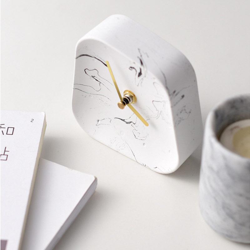 H92e6d14bf68f4a3c84d3b0a403a98e52g Table Clock Desktop Decoration Mute Concrete Small Desk Clock