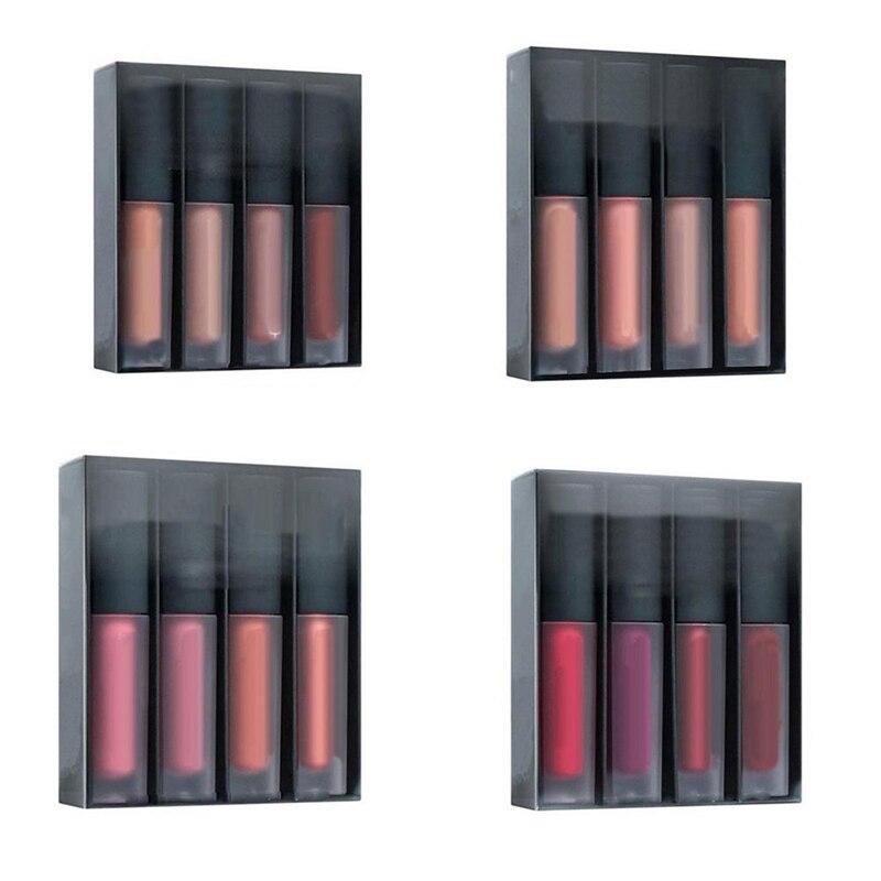 4Pcs/set Matte Lip Glosses Set Liquid Lipstick Waterproof Long Lasting Moisturizing Lipstick Women Lip Tint Beauty Cosmetics Set
