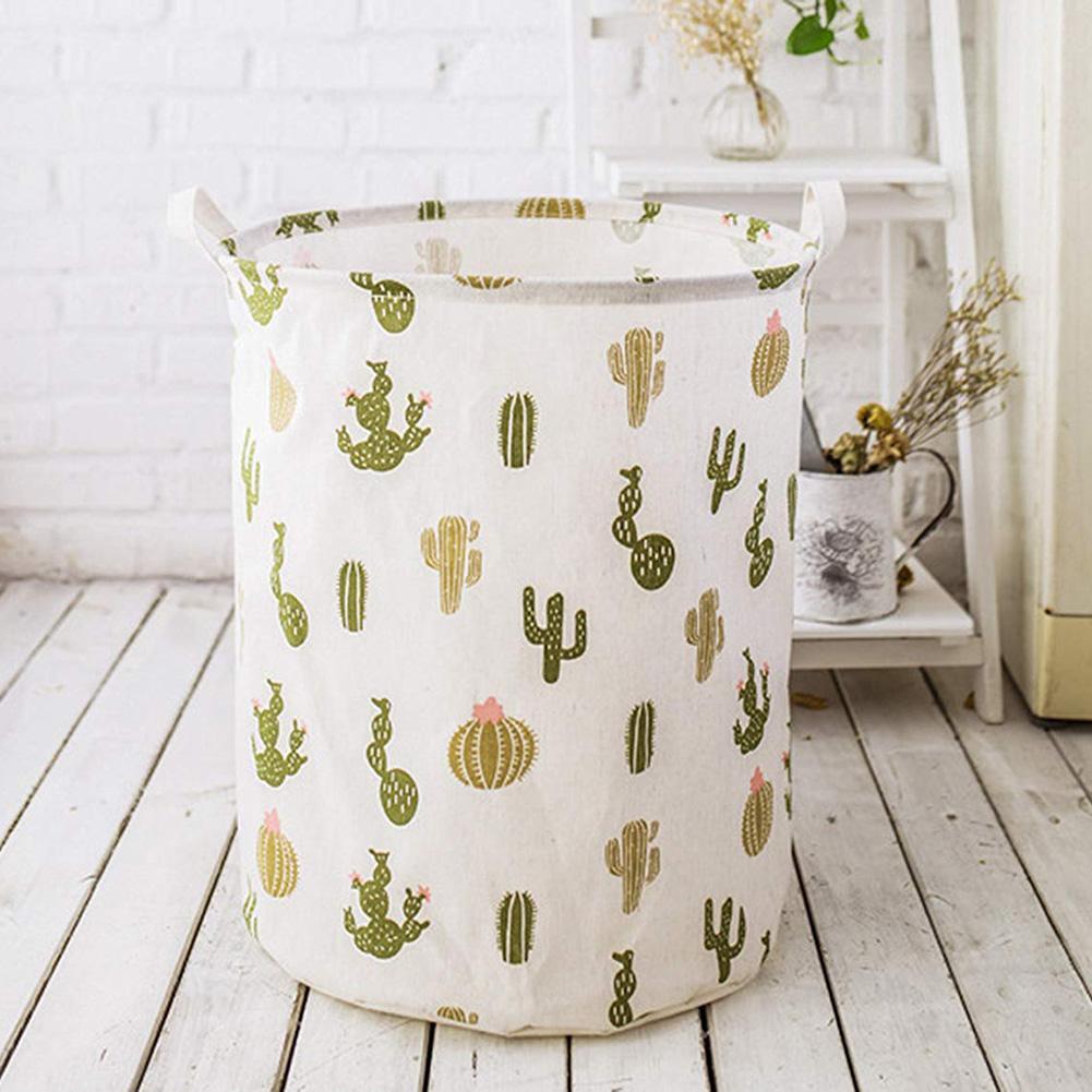 Cartoon Cactus Basket Organizer Round Storage Bin Bag Folding Clothes Toy Holder Bucket Organizer Large Capacity Laundry Basket