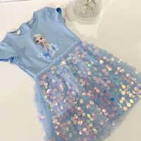 Ropa de algodón para niñas pequeñas y medianas, vestido de estilo europeo y americano con lentejuelas de Frozen, novedad de Verano de 2020