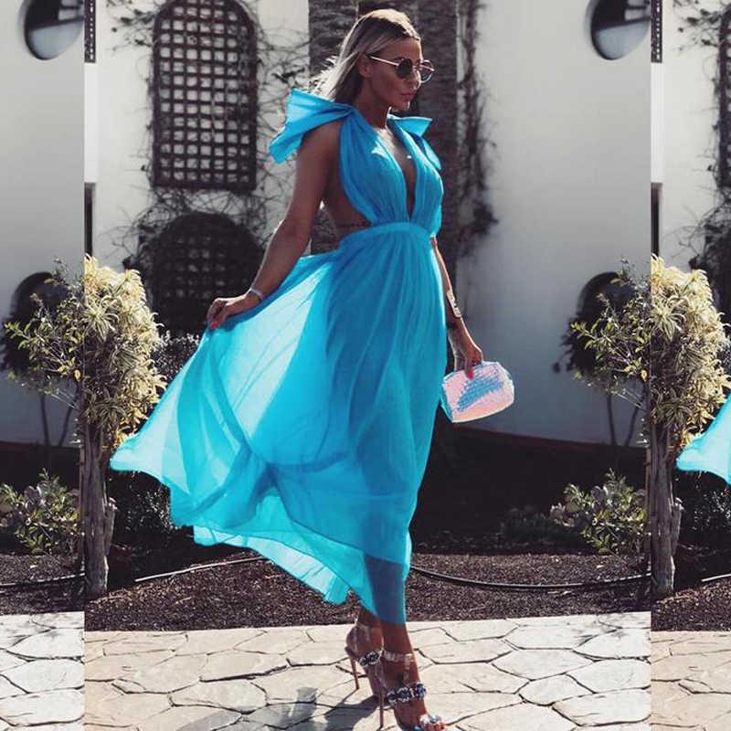 INDRESSME 2019 חדש נשים אופנה סקסי V מחשוף ללא משענת קשת שרוול Loose מחוך שמלת רשת שמלת כחול מסיבת נסיעות Vestidos