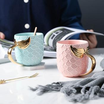 Creative Gold Mermaid Koffie Mok Keramische Ochtend Melk Cup Reizen Theekop Christms Gift Voor Vriendin Servies Home Decor stuks
