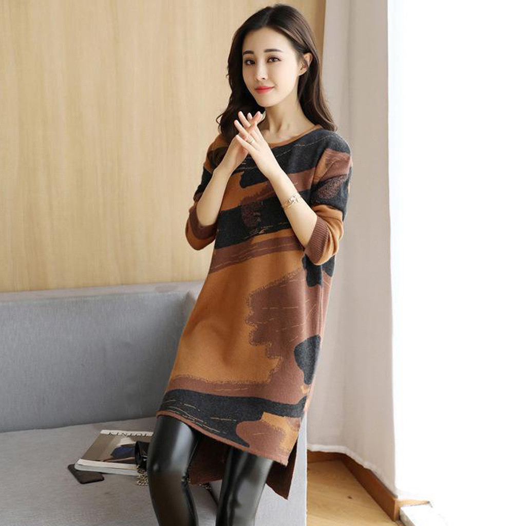party plus size Fashion Women Autumn Winter Printed Loose O Neck Long Sleeve Straight Mini Dress
