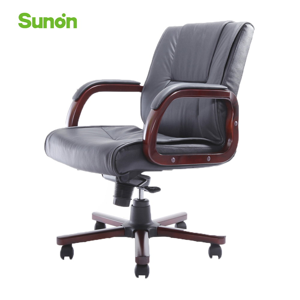 Comfort Leather Boss Chair Middle Back Natural Wood Armrest  Computer Chairs Ergonomic Gaming Chair