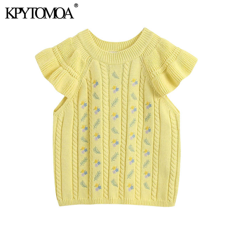 KPYTOMOA Women 2020 Sweet Fashion Floral Embroidery Knitted Blouses Vintage Short Ruffled Sleeve Female Shirts Blusas Chic Tops