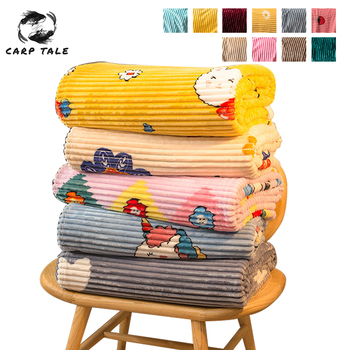 Coral Fleece Blanket Nap Air Conditioning Blanket For Beds Quilt Sheet Bedspread Cover Single Layer Thick Flannel Throw Blankets image