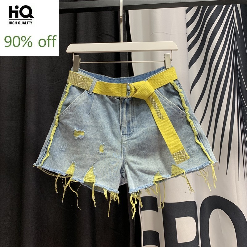 Summer 2020 New Women Hole Ripped Jeans Hot Shorts Vintage High Waist Tassel Denim Beach Shorts Casual Streetwear Wide Leg Pants