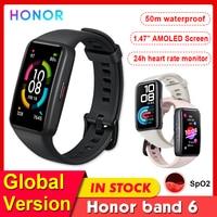 Honor-reloj inteligente Band 6 con Pantalla AMOLED, dispositivo resistente al agua con control del ritmo cardíaco y del oxígeno en sangre, versión Global