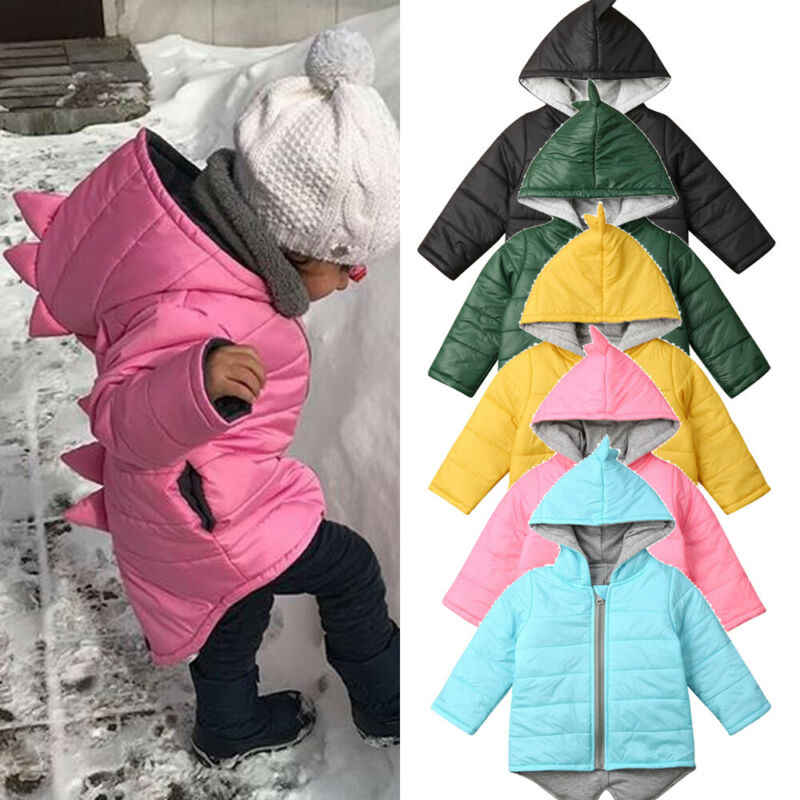 Baby Boys Girls Winter Warm Padded Hooded Hoody Coat Zip Up Thick Jacket Outwear
