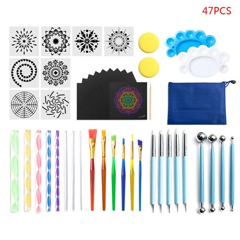 47pcs/Set Brush Stencil Tray-Kit Template Dotting-Tools Painting Rock-Stone Mandala