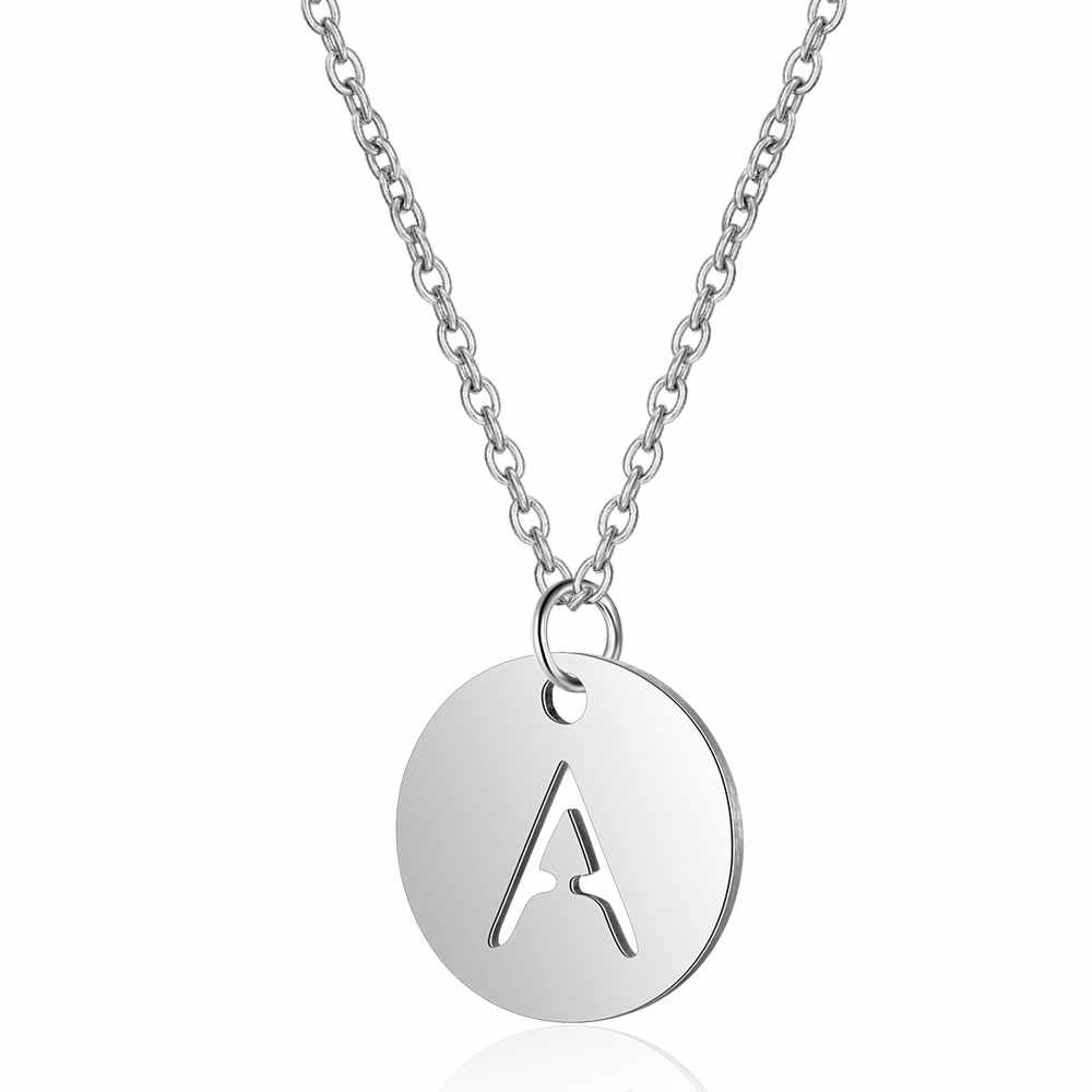 100% Stainless Steel Initial Name Charm Necklace Vnistar Simple Design Alphabet Letter Pendant Necklaces A-Z Women's Necklace