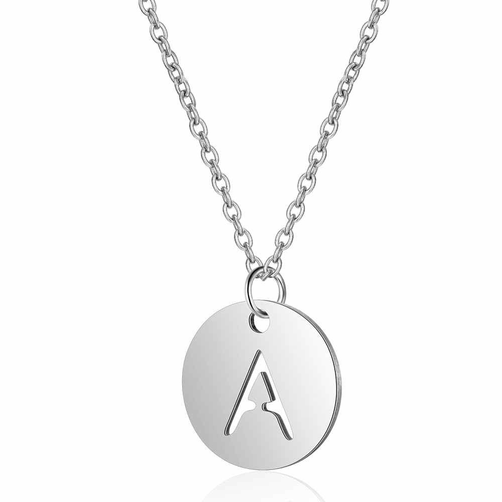 100% ステンレス鋼初期名チャームネックレス Vnistar シンプルなデザインアルファベットの手紙ペンダントネックレス A-Z 女性のネックレス
