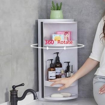 360 Rotating Bathroom Storage Rack Kitchen Corner Organizer Shelf Free Punching PP Material Holder Shower tray Wall Mounted Type