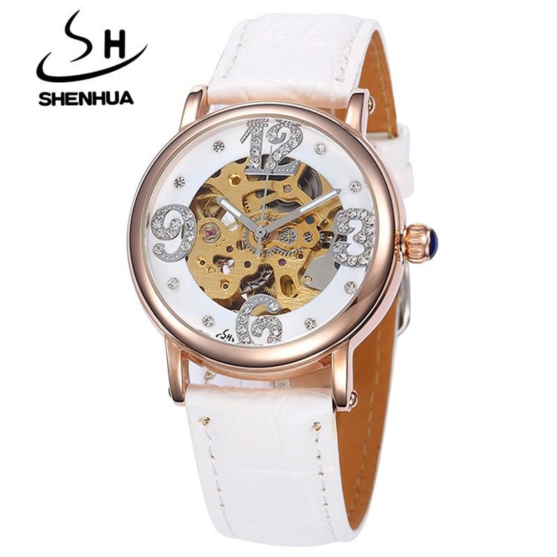 Slim Watch Shenhua Women Mechanical Watch Rose Gold Hollow Skeleton Automatic Self-Wind Leather Watch Female Diamond Wristwatch