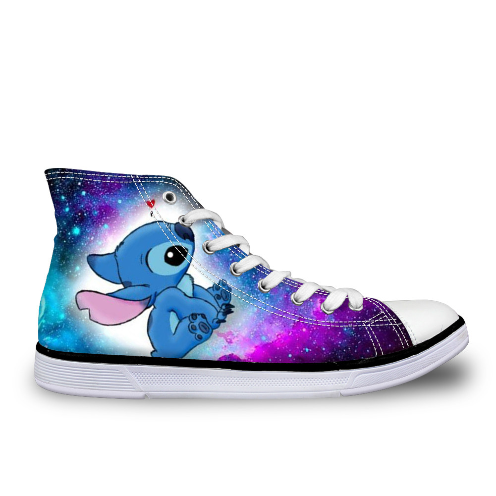 Customized Woman Casual Canvas Shoes Lilo Stitch High Top Shoes Cartoon Style Women Breathable Custom Shoes Lovely Stitch Alien