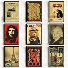 Póster Retro clásico Posters nostálgicos Vintage Kraft papel Bar Café decoración pared pegatinas habitación decoración pintura