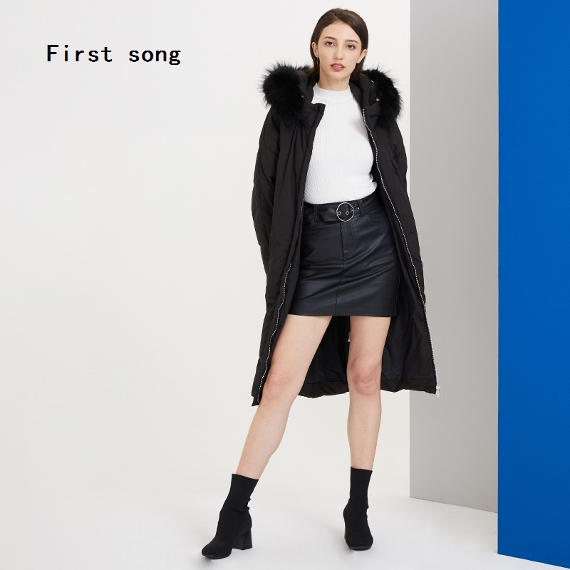 Winter 90% witte eendendons lange down jas 2019New warme jas hooded gecoat PU vrouwen jas down gewaden Moncler femme XL - 5