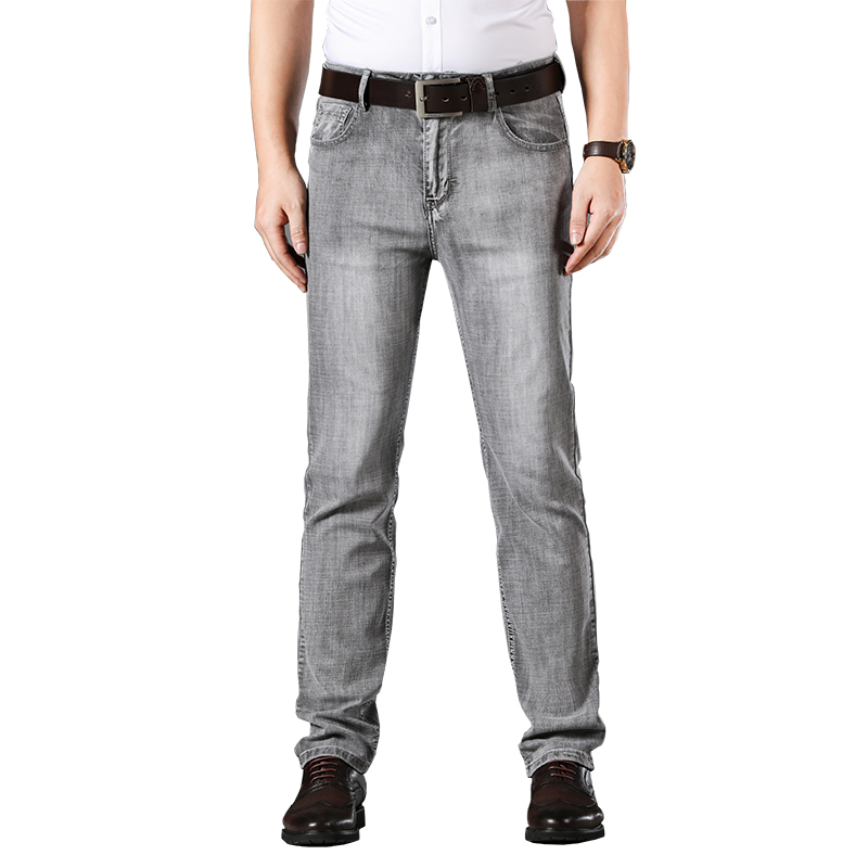 Brand Men Grey Casual Jeans 2020 New Fashion Business Stretch Straight Denim Trousers Pants Male Plus Size 36 38 40