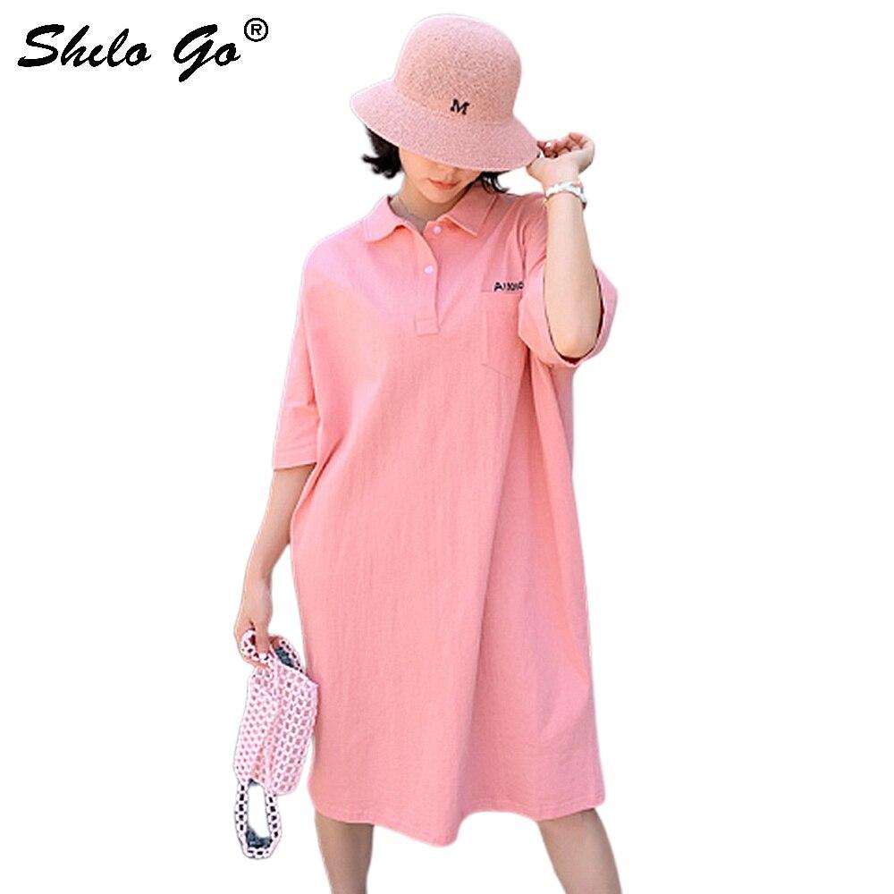 Décontracté bouton avant tourner vers le bas col tunique T shirt robe femmes été grande taille poche avant manches chauve-souris robes solides femme