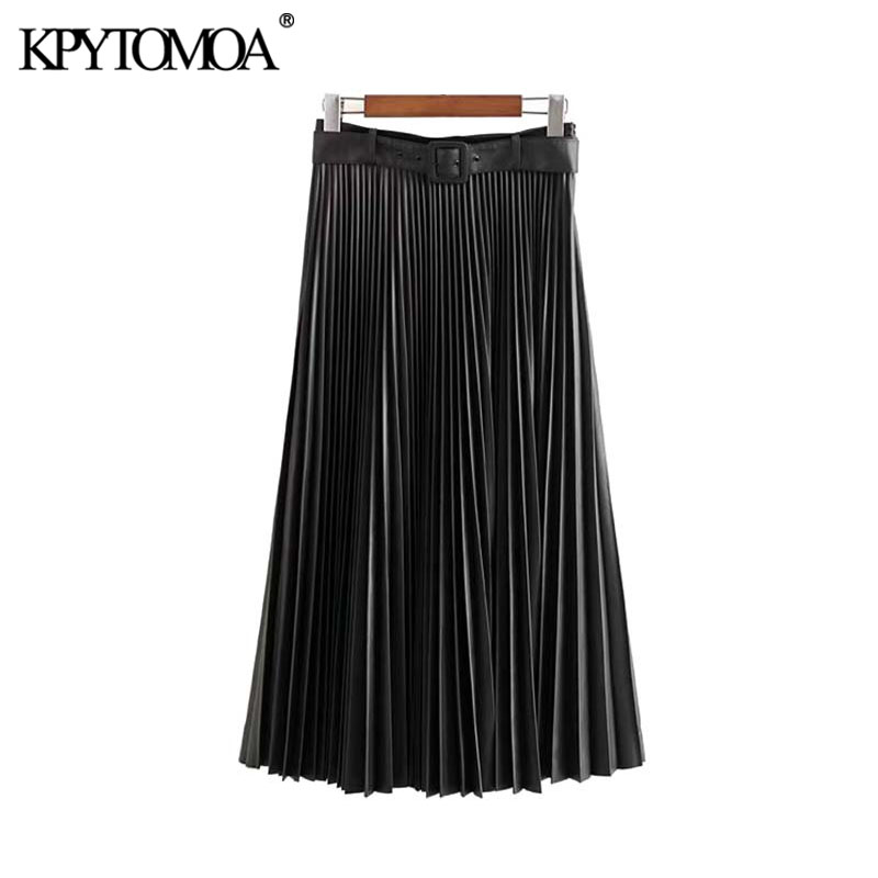 Vintage Stylish PU Faux Leather Pleated Midi Skirt Women 2020 Fashion With Belt Side Zipper Female Skirts Chic Faldas Mujer