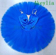 Ярко синее балетное платье пачка для выступлений без отделки