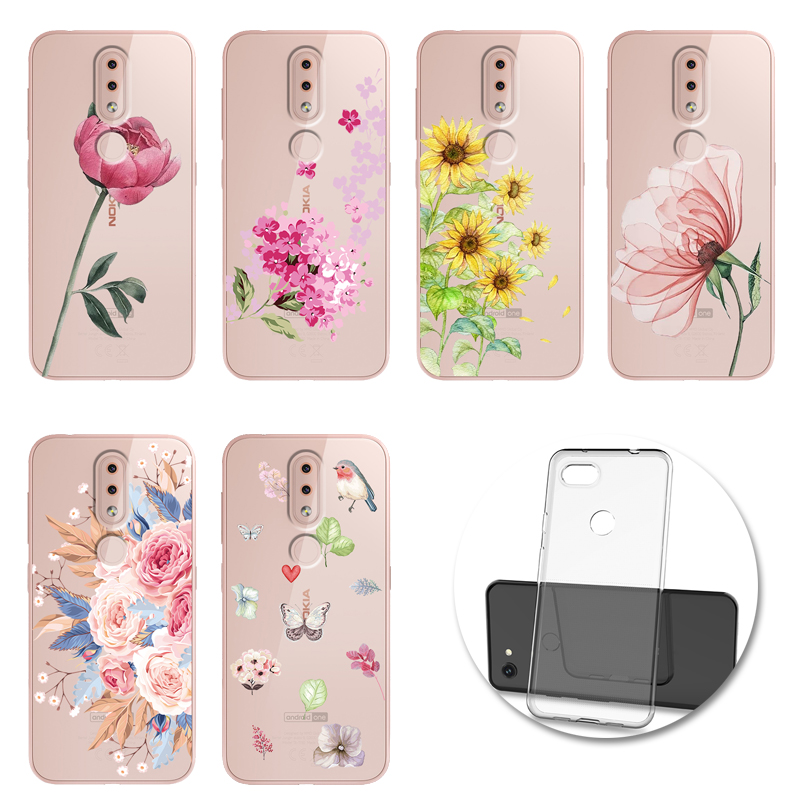Flower Phone <font><b>Cases</b></font> <font><b>Silicone</b></font> Soft Back <font><b>Case</b></font> Cover Shell For <font><b>Nokia</b></font> 2.2 3.1 3.2 4.2 6.2 7.2 X71 1 <font><b>8.1</b></font> Plus 9 PureView Funda image