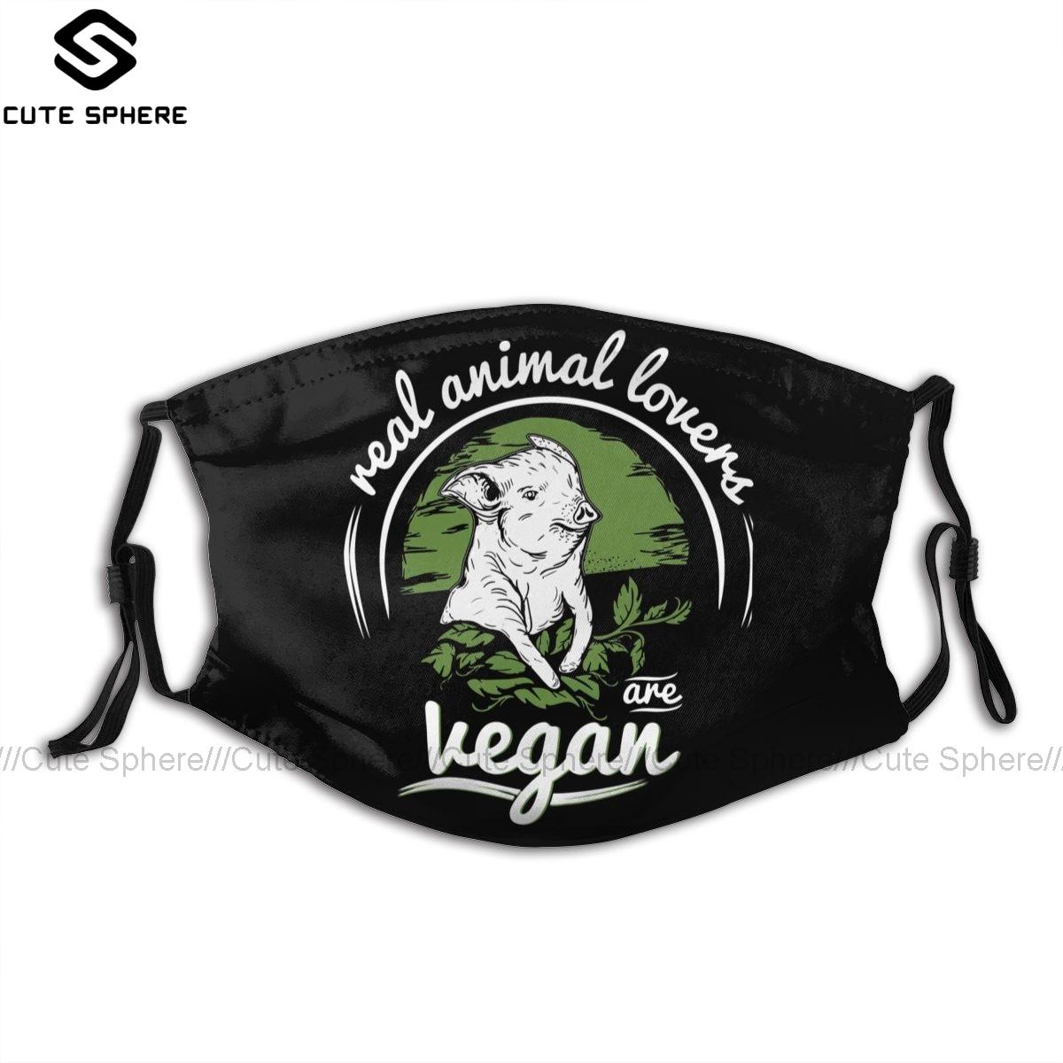 Vegan Mouth Face Mask Vegan Facial Mask Kawai Cool with 2 Filters for Adult