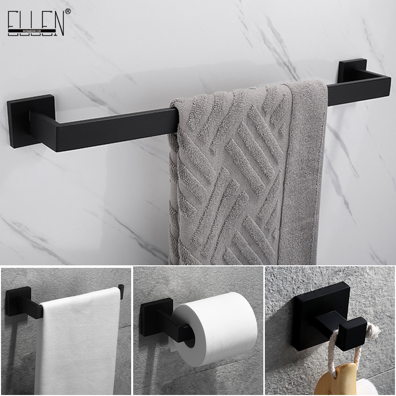 Ellen Matte Black Bathroom Hardware Set Black Robe Hook Towel Bar Toilet Paper Holder Bath Bathroom Accessories El990s Bath Hardware Sets Aliexpress