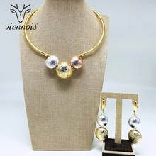 Viennois Fashion Gold Color Dangle Earrings Mix Color Necklace Jewelry Set For Women Metal Party Jewelry Set 2019